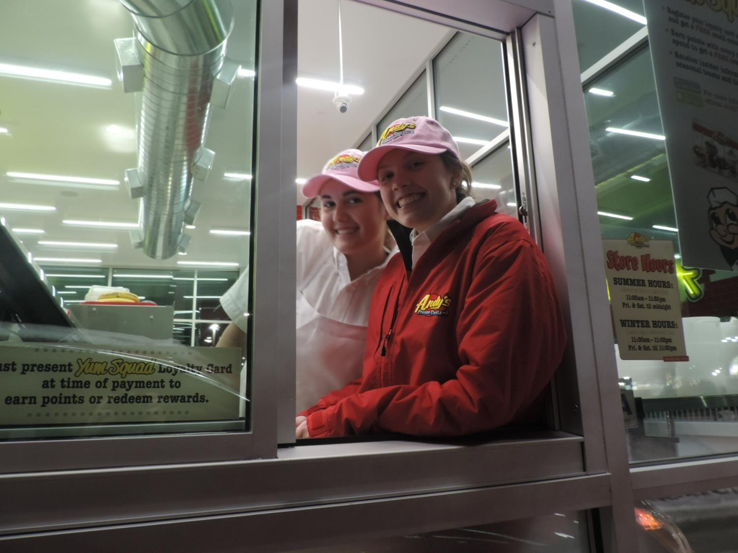 After much anticipation, Andy's Frozen Custard in Maryland Heights opened on Jan. 9, 2018. Parkway North sophomores Abby Merchant and Libby Vetter and other North students take the opening as an opportunity to find work as well as get a treat.