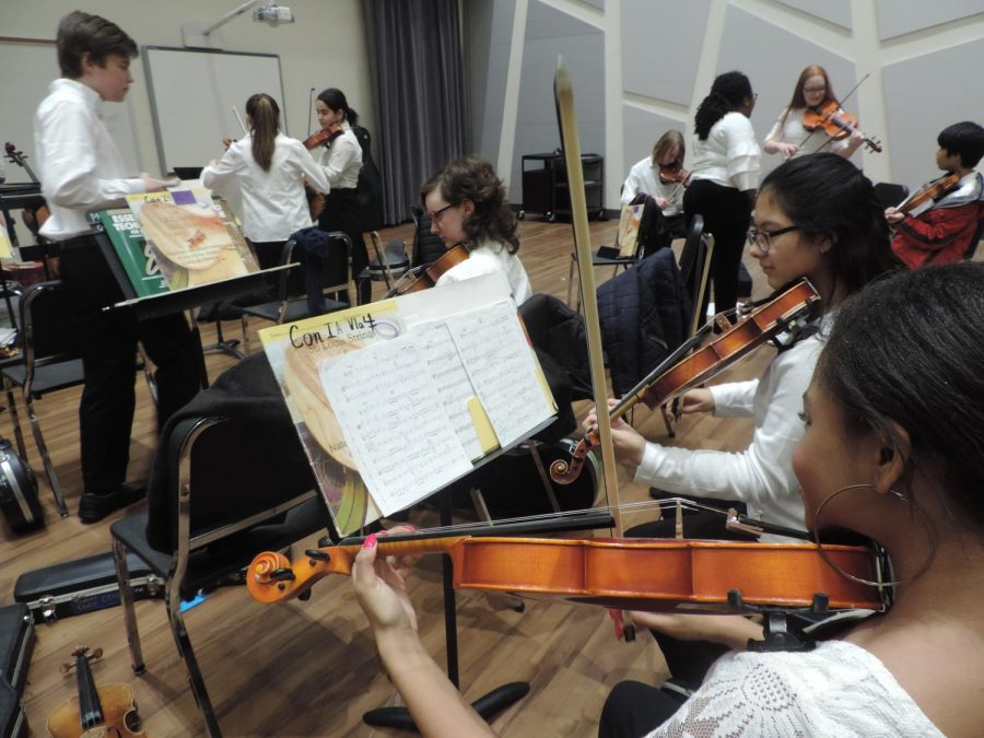 The+students+in+Concert+Orchestra+1%2C+Concert+Orchestra+2%2C+and+Symphonic+Orchestra+prepare+for+their+winter+concert%2C+which+took+place+Tuesday%2C+Feb.+12+at+7+p.m.+at+North+High+School+in+the+lower+gym.+%E2%80%9CFrom+December+until+Monday%2C+we+have+been+practicing+the+songs.+We+also+did+scales+and+basic+shifting+practices%2C%E2%80%9D+said+freshman+Diana+Baeza.