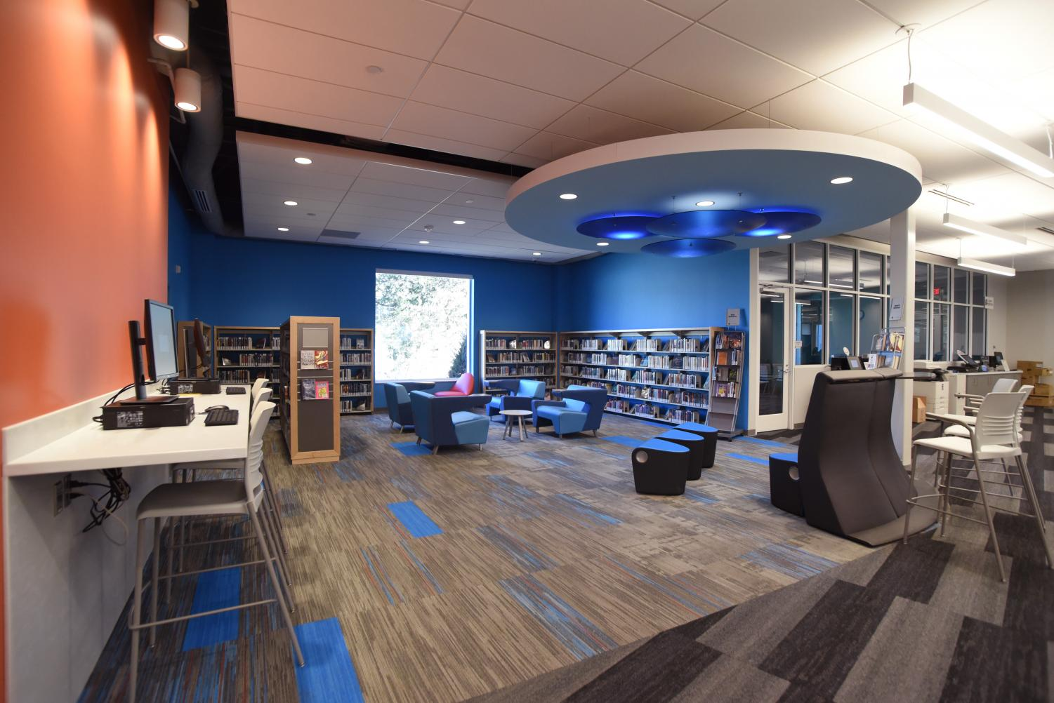 The new teen section at Thornhill library includes comfortable furniture, computer access, and space for students to study. Thornhill opens Feb. 13 after closing for renovation Jan. 6, 2018.