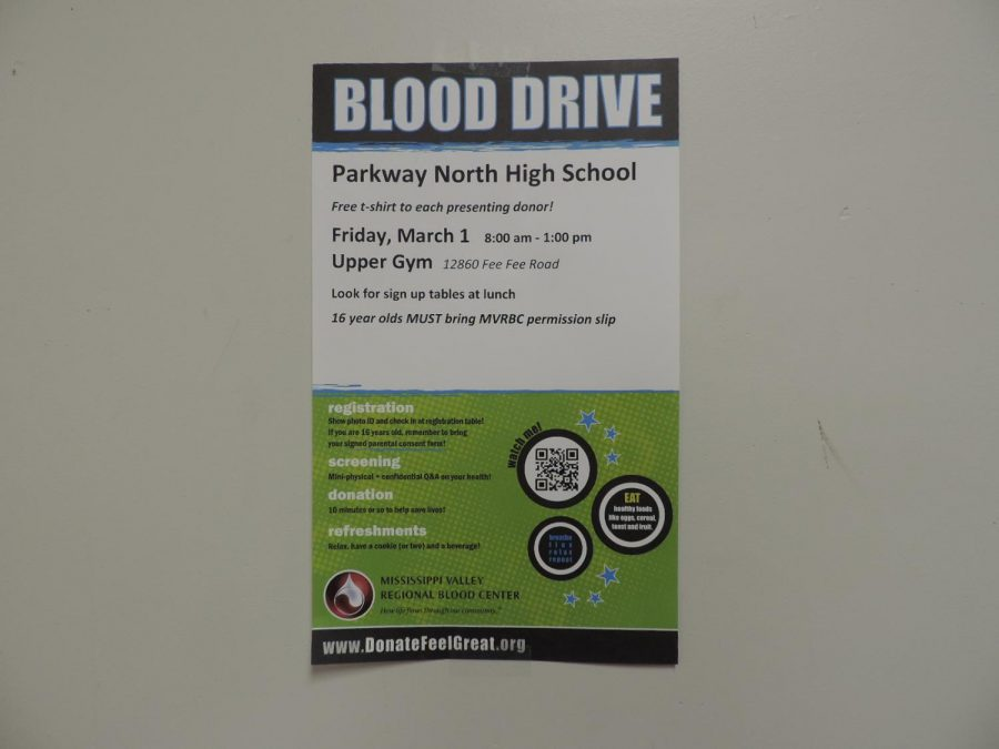 On+March+1+from+8+a.m.+to+1+p.m.%2C+Parkway+North%E2%80%99s+National+Honors+Society+ran+their+blood+drive+for+the+second+time+this+school+year.+The+blood+is+collected+by+the+Mississippi+Valley+Regional+Blood+Center+%28MVRBC%29%2C+a+nonprofit+organization+which+provides+blood+products+and+services+to+88+hospitals+in+Illinois%2C+Iowa%2C+Missouri%2C+and+Wisconsin.+%E2%80%9CBlood+is+medicine%2C+and+it+also+expires%2C%E2%80%9D+said+NHS+sponsor+Scott+Nilsen.+%E2%80%9CIf+we+don%E2%80%99t+have+constant+supplies+of+new+blood%2C+then+people+who+need+it+won%E2%80%99t+be+able+to+have+it%2C%E2%80%9D