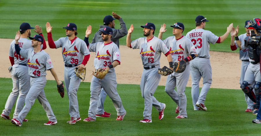 On+October+10%2C+2012%2C+the+St.+Louis+Cardinals+congratulate+each+other+after+defeating+the+Washington+Nationals+8-0+in+the+playoffs.+2012+was+the+heart+of+the+Cardinals%E2%80%99+recent+success%2C+and+now%2C+they+strive+to+return+to+that+form.