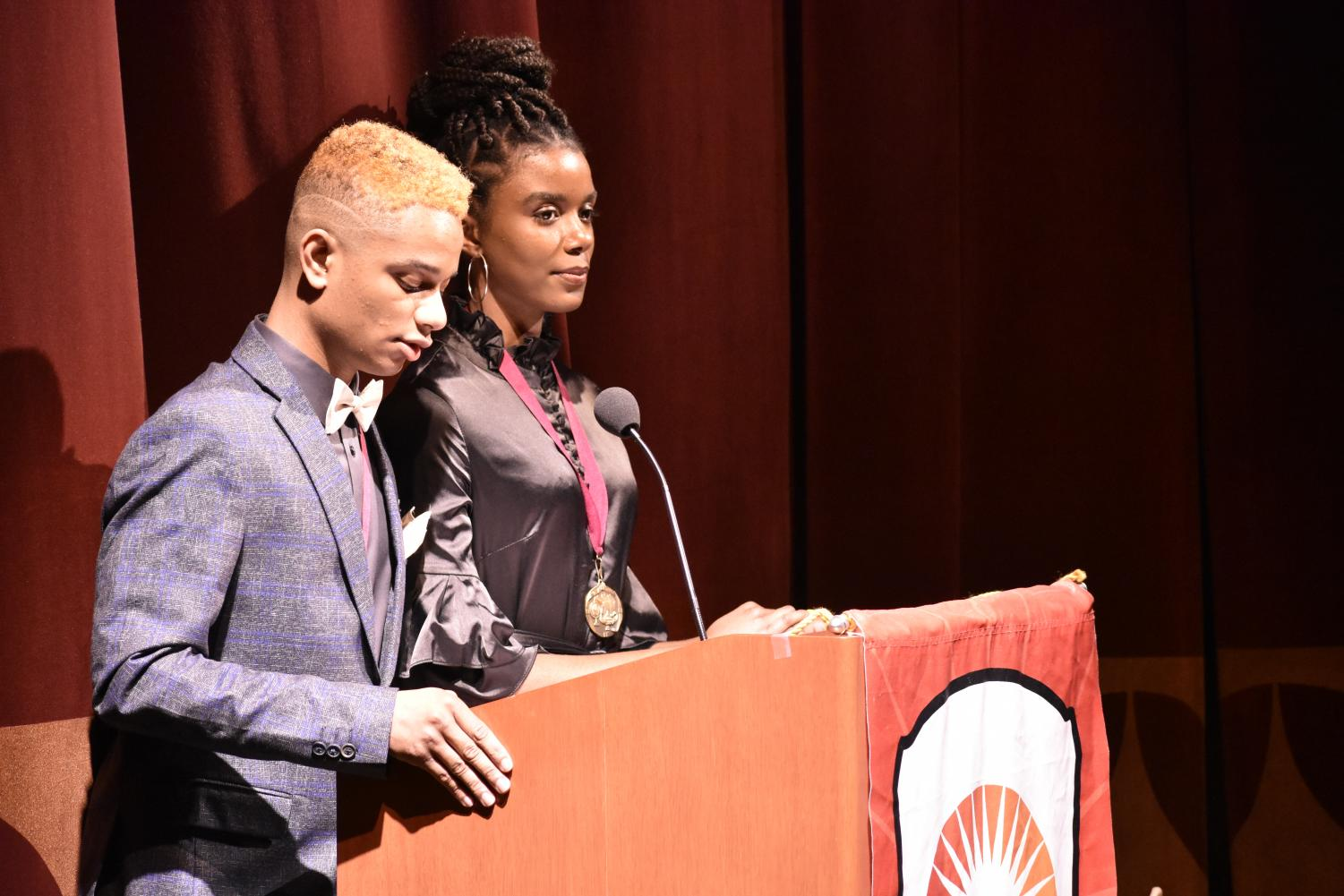 Mistress+and+Master+of+Ceremonies%2C+junior+Jonica+Dandridge+and+senior+Elijah+Edwards+from+South+High+speak+on+the+history+of+Spirit+of+Excellence.+They+spoke+on+how+the+program+is+growing+exponentially+and+announced+that+this+year%2C+612+students+grades+3-12+are+receiving+awards.%0A