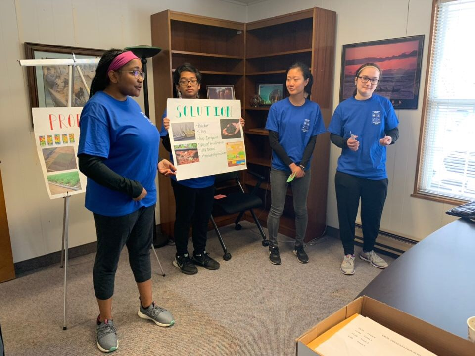 "Parkway North Envirothon teammates junior Sydney King, senior Josh Prila, junior Yuki Chen, and junior Madeline Fischer present their solution to this year's Current Issue ""Sustainability and Agriculture"" in the 2019 St. Louis Regional Envirothon. North's team had the highest presentation score and placed second overall at Regionals on April 4, qualifying for the statewide competition which takes place on May 2."