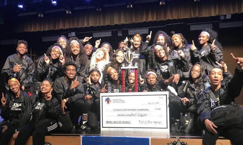 "The Parkway District Step team poses for pictures after finishing in first place. ""For both middle school and high school to win was a big relief and a good feeling,"" said Fortenberry."