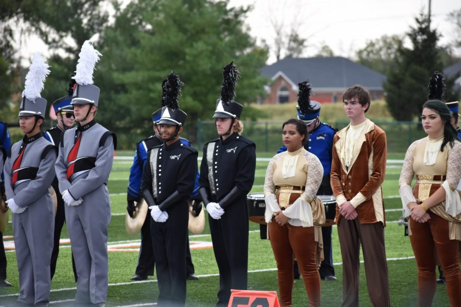 Drum+majors+junior+Keith+Pennel+and+senior+Logan+Boatright+wait+for+results+at+the+Potosi+Band+Competition+on+Oct.+12%2C+2019.+Pennel+and+Boatright+will+be+presenting+the+trivia+night.