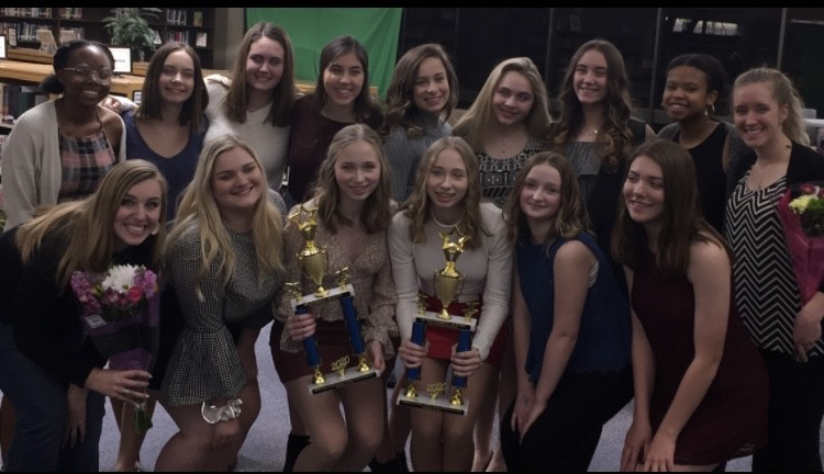 The+Vikettes+celebrate+their+successful+season+with+an+end+of+the+year+banquet+on+March+6.+The+team+received+trophies+for+both+their+mixed+routine+and+their+hip-hop+routine+at+State+in+February.