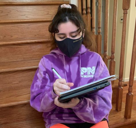 """""""Some people say that high school is bad and others say it's good. But it doesn't have to suck, is what I'm thinking. It just depends on how you take in everything and interpret it,"""" said freshman Camilla Mamedova. To help with her studies, Mamedova listens to music to concentrate during these unprecedented times in school."""
