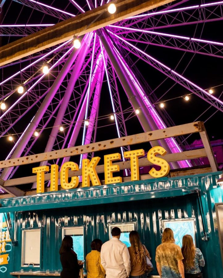 Finally approaching the ticket counter for the St. Louis Wheel, ticket buyers have a choice to pay $15 for adults and $10 for children or purchase a VIP Gondola for $50 which seats up to four people with a glass floor.